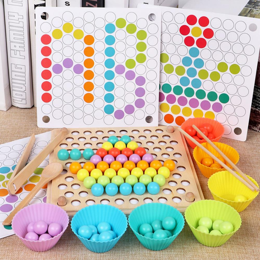Kids Montessori Wooden Clip Chopsticks Beads Color Sorting Matching Puzzle Board Hands Brain Training Early Educational Toys