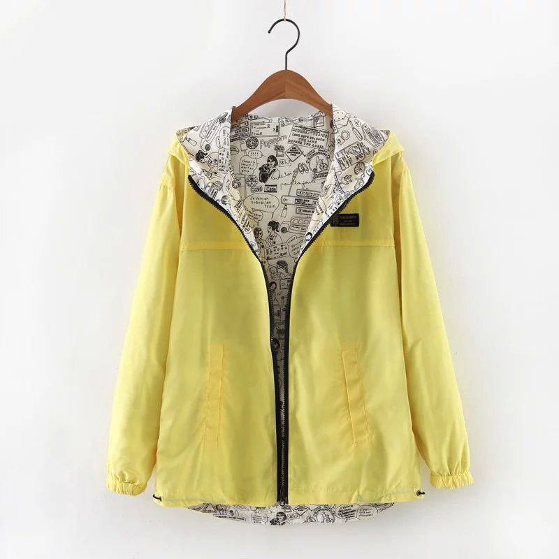 2019 Autumn Women Casual Bomber   Basic     Jacket   Pocket Zipper Hooded Two Side Wear   Jacket   Cartoon Print Outwear Loose Coat