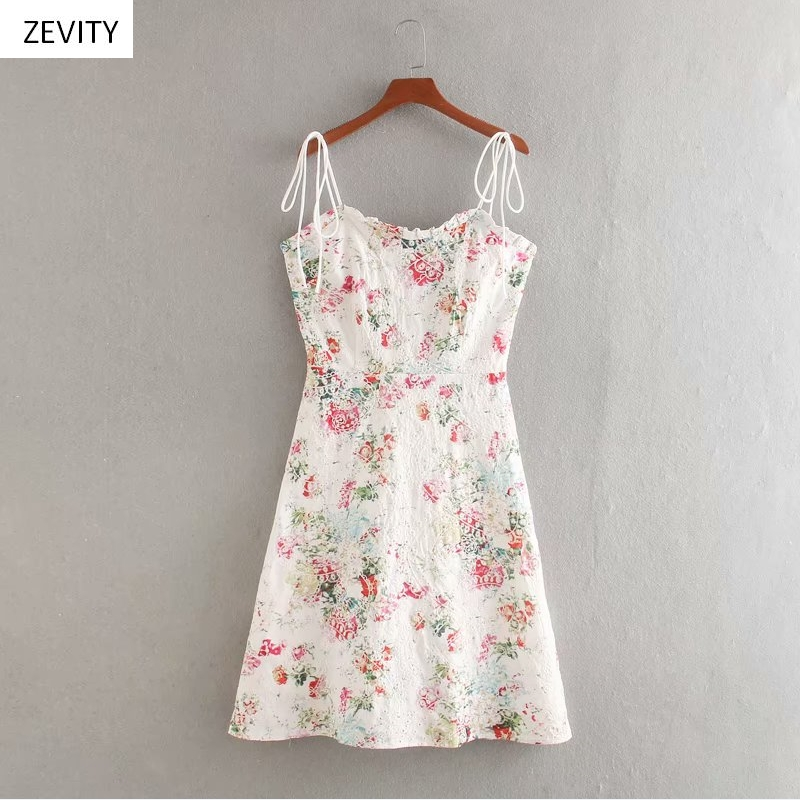 Zevity New women chic flower print hollow out embroidery sling dress female backless zipper ruffles vestido slim dresses DS3983