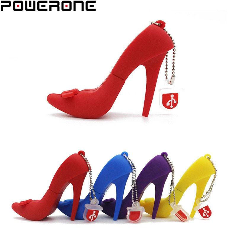 POWEONE Hot High-heeled Shoes USB Flash Drive Memory U Disk 4gb 16g 32g 64g Card Stick Gift Pendrive Key Creativo Gift For Lady