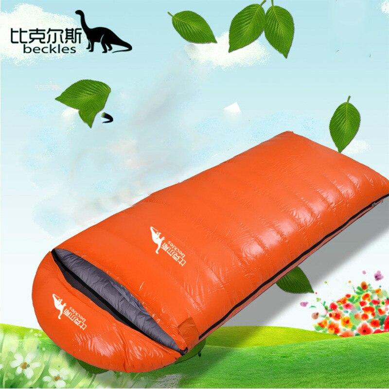 Beckles caminhadas ao ar livre acampamento respirável edredon saco de dormir adulto 95% ganso para baixo luz quente viagem saco de dormir pode ser costurado