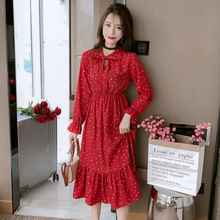 Bowtie Chiffon Long Sleeve Dress Women Korean Vintage Black Print Sweet Ladies Dresses Autumn Kawaii Midi Robe Femme 2019 S-XL bowtie chiffon long sleeve dress women korean vintage black print sweet ladies dresses autumn kawaii midi robe femme 2019 s xl