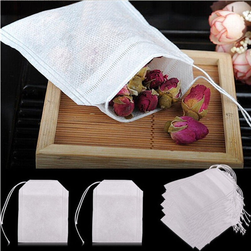 100Pcs 5.5 X 7cm Empty Polyester Mesh Drawstring Tea Bag Tea Strainerr Food Grade Tea Filter Tea Infuser Kitchen Accessories.