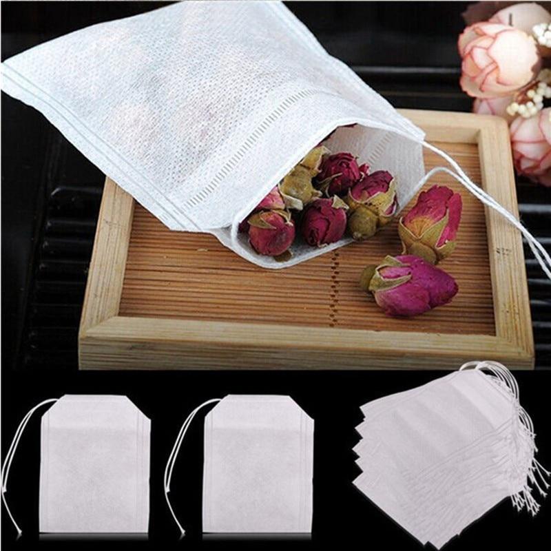 100Pcs 5.5 X 7cm Empty Polyester Mesh Drawstring Tea Bag Tea Strainerr Food Grade Tea Filter Tea Infuser Kitchen Accessories.