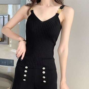 Women's Black Color Knitted Tank Tops Sexy Metal Decorative Sleeveless V-neck Stretch Camis 2020 Spring Summer