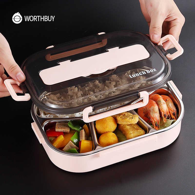 WORTHBUY 日本子供ランチボックス 304 ステンレス鋼弁当ランチボックスコンパートメント食器電子レンジ食品容器ボックス
