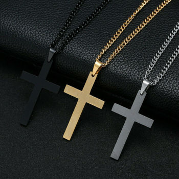 Stainless Steel Cross Necklace for Women Men Vintage Gold Silver Charm Pendant Necklace Jewelry Religious Anniversary bofee long vintage cross chain punk necklace pendant stainless steel choker charm metal male fashion jewelry gift for women men