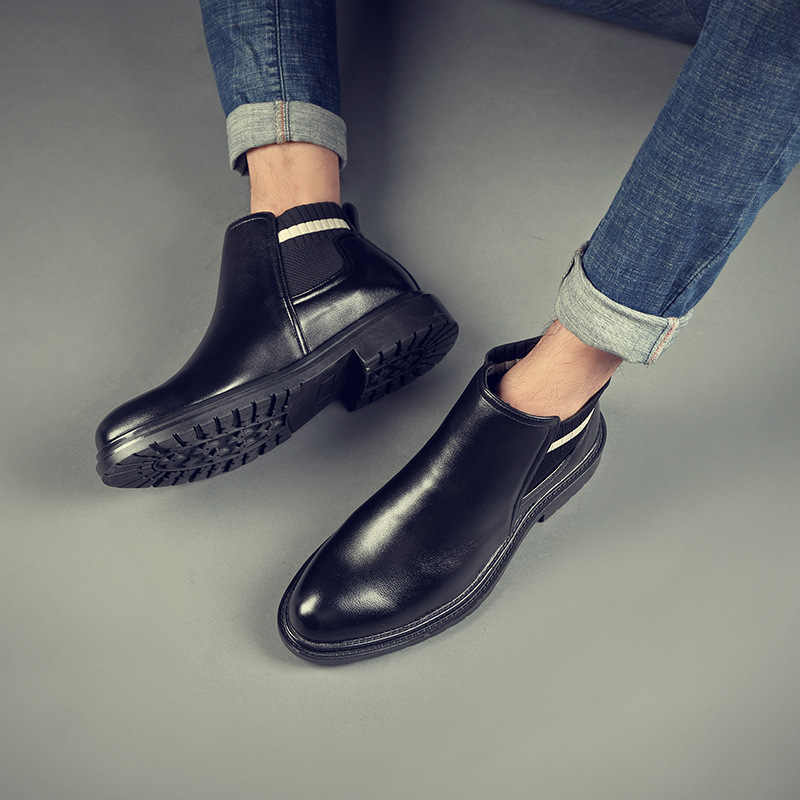 Outono inverno moda masculina negócios casuais botas de couro masculino tornozelo botas chelsea sapatos masculinos vintage clássico motocicleta bota