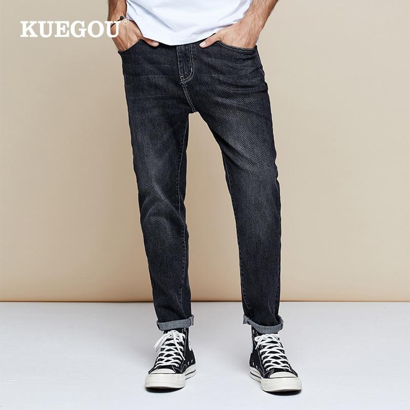 KUEGOU 2019 Autumn Cotton Black Skinny Jeans Men Streetwear Brand Slim Fit Denim Pants For Male Hip Hop Stretch Trousers 1795