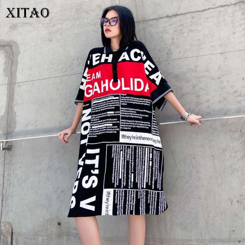 XITAO Plus Size Letter Print Split Dress Women Clothes 2020 Summer New Loose Casual Turn Down Collar Elegant Dress HXM1008