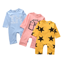 Newborn Baby Boys Girls Romper Star Printed Long Sleeve Autumn Winter Cotton Kid Jumpsuit Playsuit Outfits Clothing