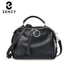 Zancy – sac à main en cuir véritable souple pour femmes, sac à bandoulière élégant avec pompon, grande capacité, Simple et décontracté