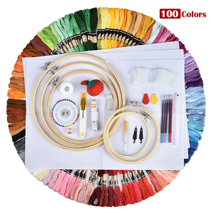 Image 3 - 50/100 Colors Skeins Embroidery Pen Needle Set Thread Punch Stitching Knitting Kit Women Mom DIY Sewing Accessories With Tweezer