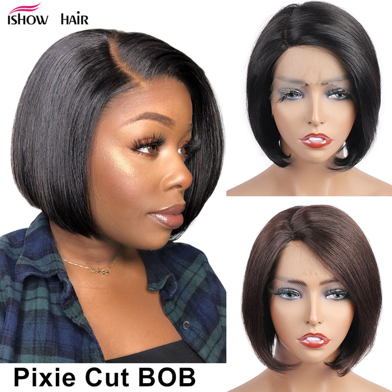 Pixie Cut Wig Ishow Short Bob Wigs For Women Colored Human Hair Wigs Brown Color Straight Human Hair Wigs Pixie Cut Bob Lace Wig