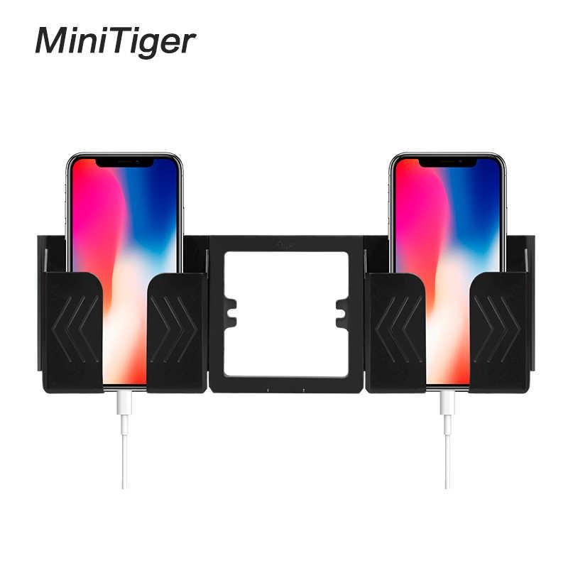 Minitiger שחור אפור קיר שקע טלפון מחזיק Smartphone אביזרי Stand תמיכה נייד טלפון אחד/שני טלפון בעל