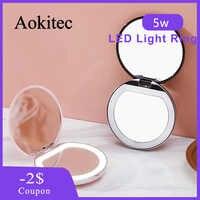 Aokitec Rotonda Glow Mini Portatile Led Specchio per Il Trucco Della Ragazza Llight di Trucco Rotondo Piccolo Specchio Sicuro Robusto Innocuo Durevole