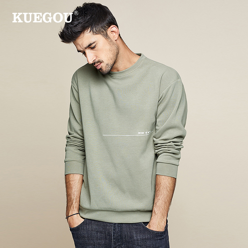 KUEGOU 2019 Autumn Cotton Print Letter Green Sweatshirts Men Fashions Japanese Streetwear Hip Hop Male Clothes Plus Size 0223