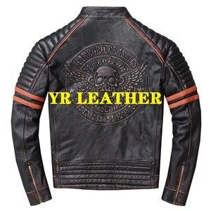 Image 2 - YR!Free shipping.Wholesales.Street Hot motor biker genuine leather jacket.skull printing cowhide coat.vintage slim jackets