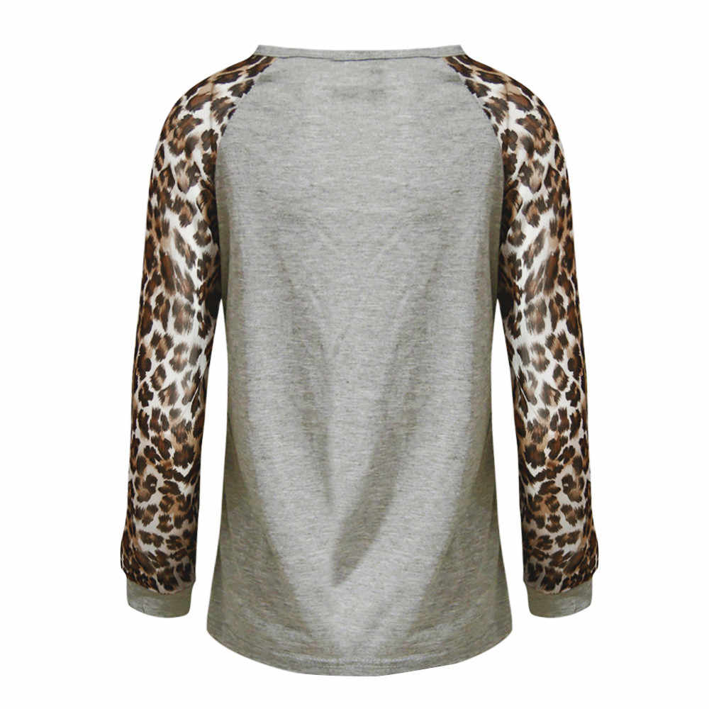 Blusa de leopardo a la moda de manga larga para mujer, Tops de gran tamaño para dama, Blusas femeninas, elegantes, talla grande # YL5
