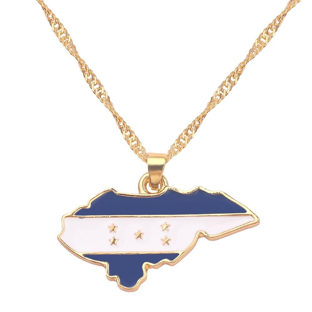 Новая карта страны, флаг, ожерелье, Африка, Гана, Liberia Undersea, Jamaica, Южная Африка, Congo, Honduras, подвеска, цепь, мужские ювелирные изделия - Окраска металла: Honduras