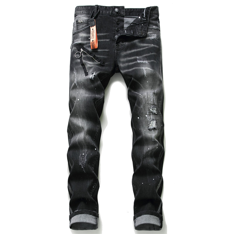 European American Style Famous Brand Jeans Men Slim Jeans Pants Mens Black Denim Trousers Zipper Blue Hole Pencil Pants Jeans