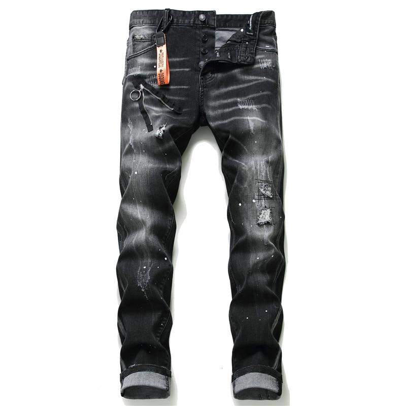 European American Style Famous Brand Jeans Men Slim Jeans Pants Mens Black Denim Trousers Zipper Blue Hole Pencil Pants Jeans