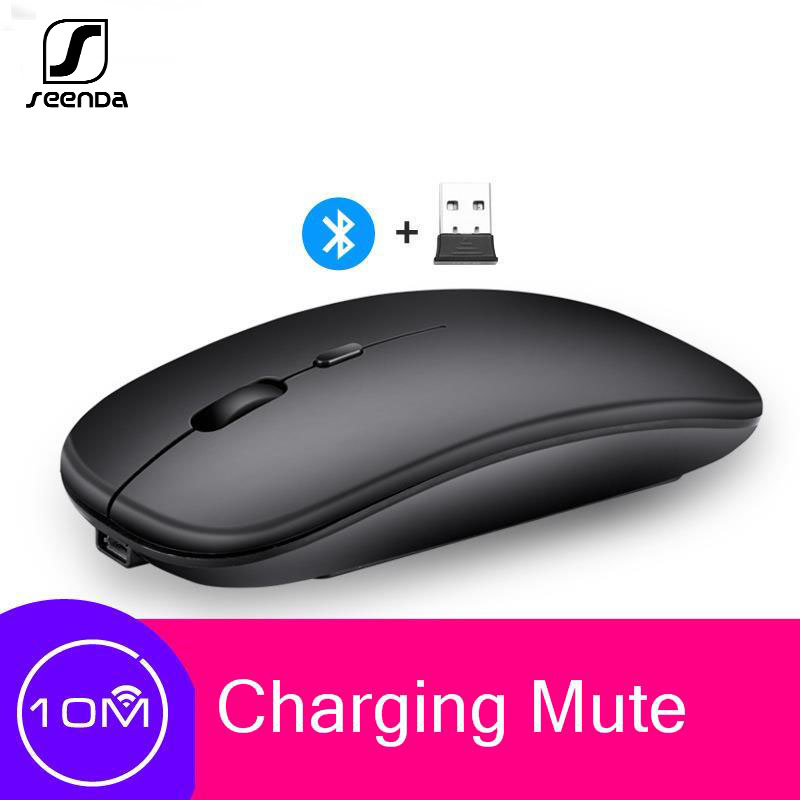 SeenDa Bluetooth Rechargeable Mouse Wireless Silent Dual Mode Optical Mice 2.4G 5.0 Mute Silent  Ergonomic Notebook Game Mouse
