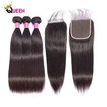 WOWQUEEN-mèches de cheveux Remy lisses, avec Closure, 100% cheveux humains malaisiens, Extensions capillaires, lots de 3