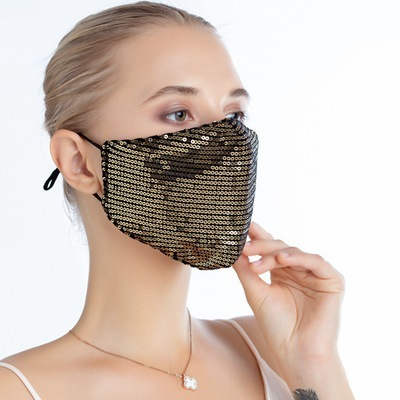 Mascarilla  Reusable Cotton Fabric Face Mask Washable Protective Fashion kpop Black Mouth Mask Bling bling For Girls Mascarillas