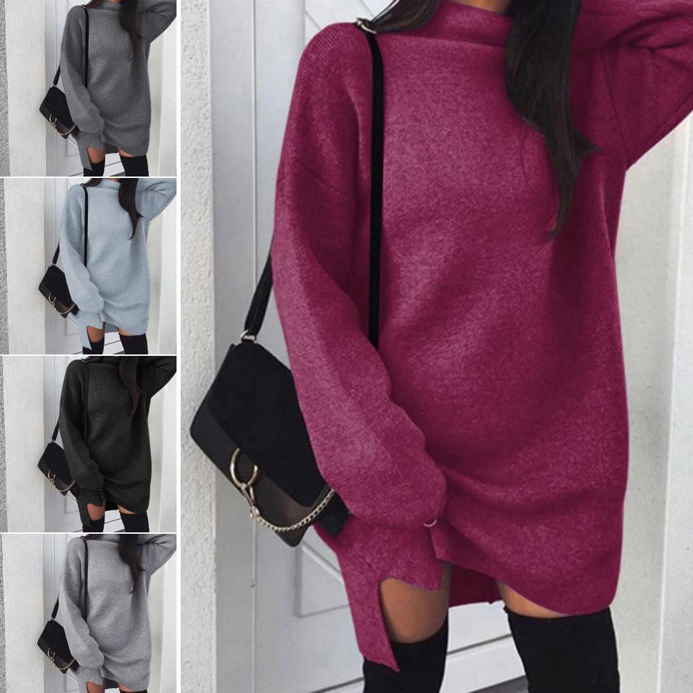 Sweater Dress Women Sweaters Dress Winter Autumn Loose Knitwear Sweater Long Sleeve Turtleneck Sweater Pullover Jumper Midi Dre