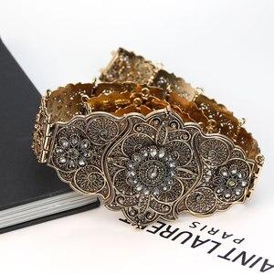 Image 4 - Sunspicems velha cor do ouro europeu feminino cinto completo cinza cristal étnico vestido de casamento caftan cintura jóias presente nupcial atacado