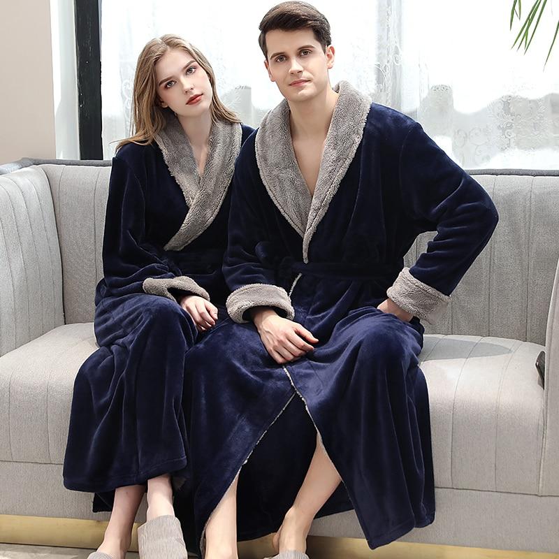 Lovers Winter Long Flannel Coral Fleece Warm Solid Bathrobe Women Men Kimono Coffee Bath Robe Bridesmaid Sexy Dressing Gown