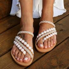 Roman Pearl Crystal Women #8217 s Summer Footwear Bohemian Non-slip Sandals Flat Shoes Woman Plus Size42 43 Non-slip Flat Beach Sandal cheap Akexiya Basic Flat with NONE Open Rubber Low (1cm-3cm) Casual Slip-On Fits true to size take your normal size Back Strap