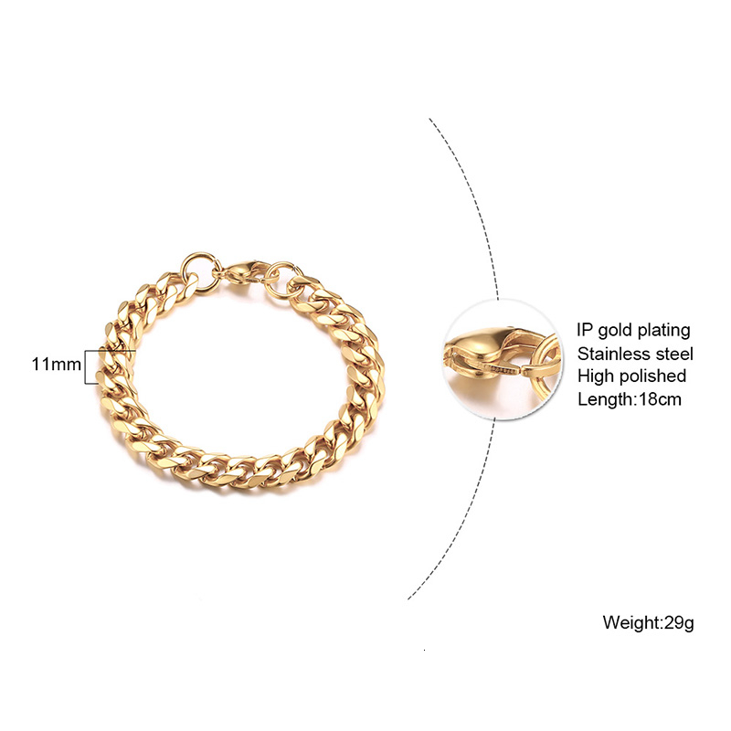 Men's Bracelet Curb Cuban Link Chain Stainless Steel Mens Womens Bracelets Bangle Gold Tone No Fade 3mm to 11mm 3