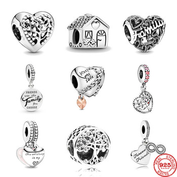 100% 925 Sterling Silver Beads Charm Mother's Day Gift Family Tree House Charms Fit Original Pandora Bracelets Women Diy Jewelry