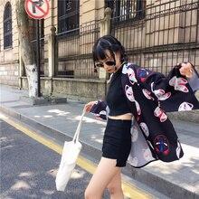 Harajuku Cat Print Loose Cardigan Kimono SF
