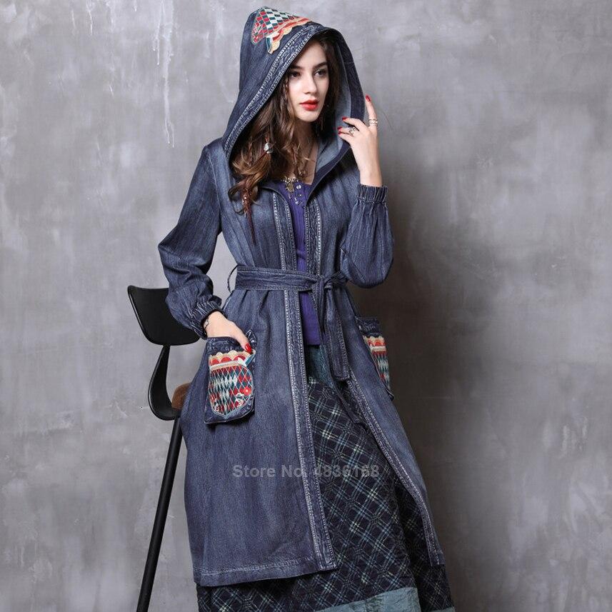 Luxe gitane femmes Vintage Denim Maxi robe médiévale Cosplay Costumes sorcière broderie cour reine princesse à capuche manteau Trench