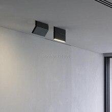 1 pçs led superfície montado downlight spotlight 12w preto branco rotatable 3000k 4000k 6000k casa lâmpada ajustável luz do ponto de teto