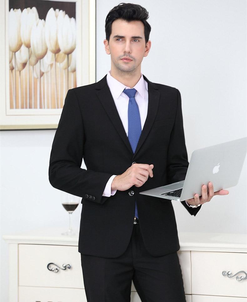 (Jackets + Pants)2019 Men's Groom Wedding Dress Formal Pants Suits 2 Pieces Set Men Fashion Casual Business Trouser Suit
