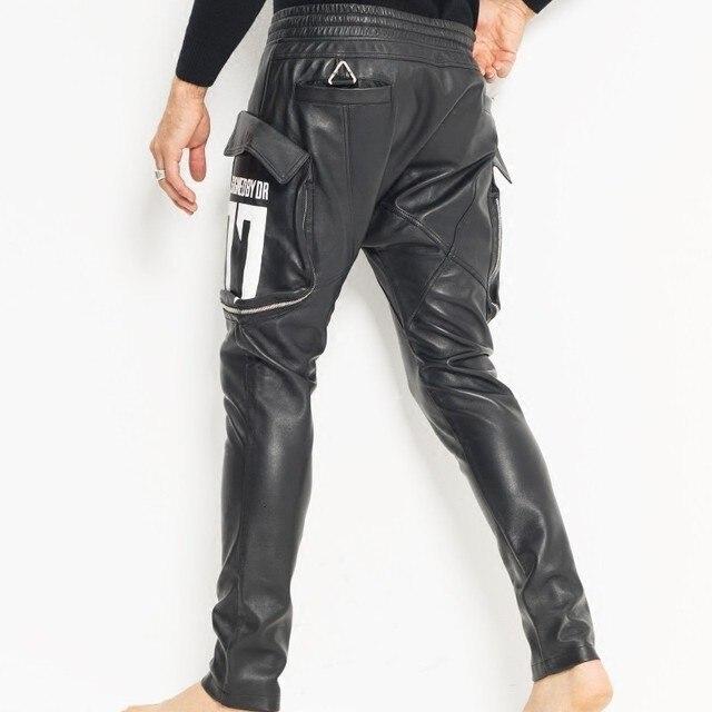 New mode men's big pocket big pocket elastic size jogging pants in backyard sheepskin leather pants drop pants cross pants 3