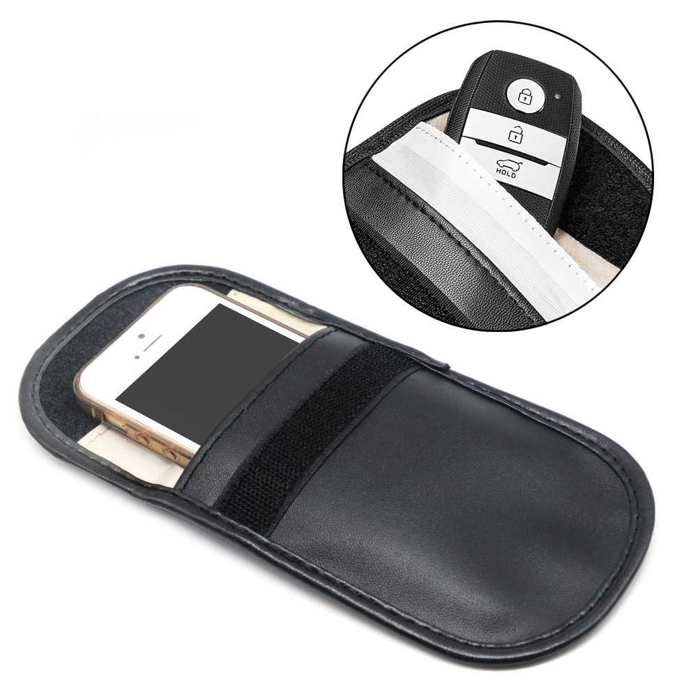 Car Key Signal Blocker Case Faraday Cage Fob Pouch Keyless RFID Blocking Bag Faraday Cage Fob Pouch Protector
