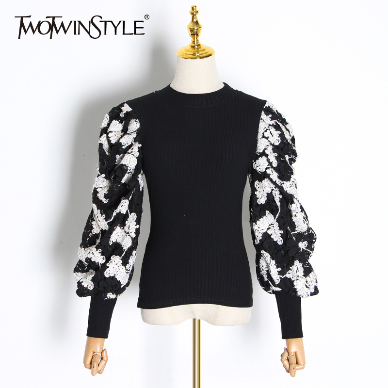 TWOTWINSTYLE Patchwork Embroidery Sweaters Female O Neck Lantern Long Sleeve Ruched Lace Hit Color Women's Sweater 2020 Fashion
