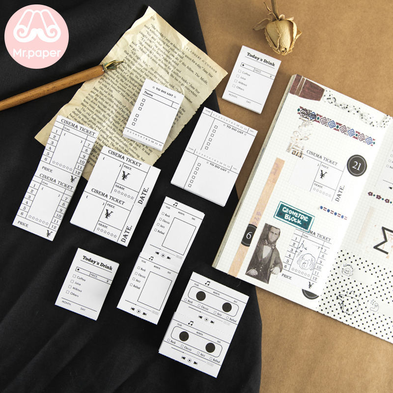 Mr.paper 40Pcs/box Black White Original Row Movie Life Scrapbooking Deco Stickers Creative Bullet Journal Stickers Easy To Tear