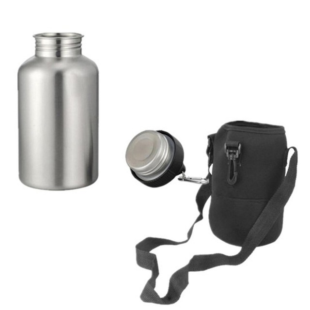 304 Stainless Steel 2000ml Hiking Sports Drink Water Bottle 2L with New Hook 1 Set Protector Bag 1