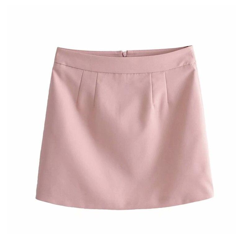 Women Sweet Pink Mini Skirt Faldas Mujer Zipper Fly Design Female 2019 Autumn Stylish Skirts