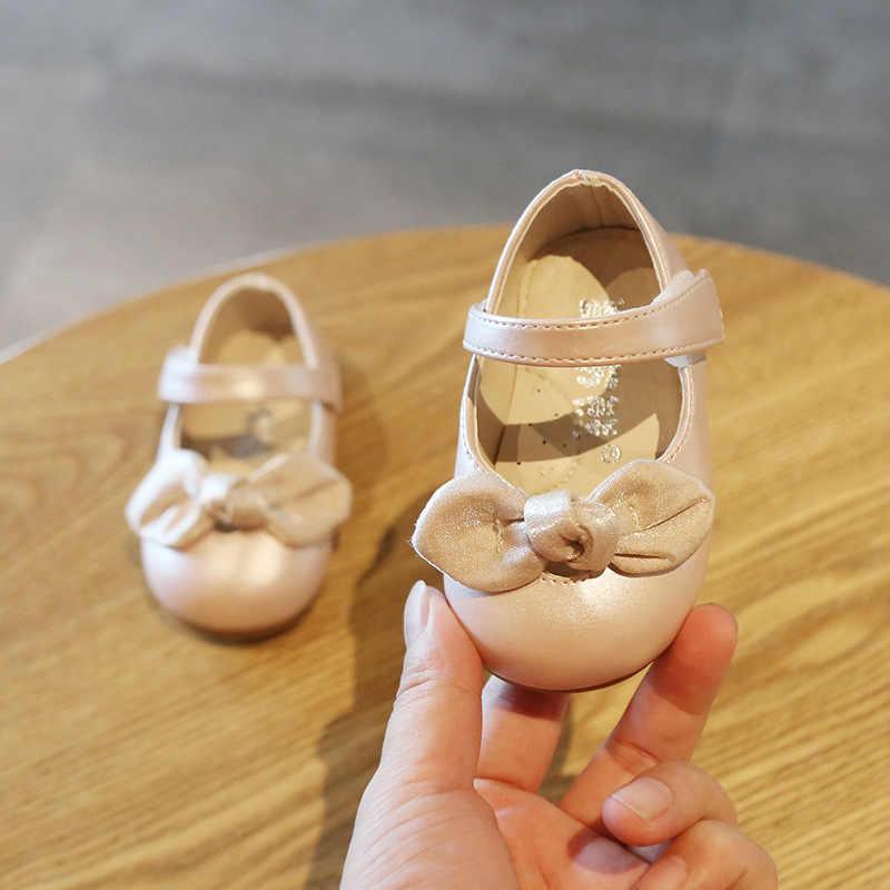 Claladoudou 11.5-15.5 Cm Baby Lederen Peuter Meisjes Schoenen Zwart Grote Bowtie Prinses Schoenen Baby Dance Schoenen Beige Baby platte