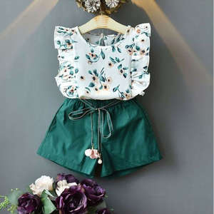 Pudcoco Kids Summer Outfit-Sets Green-Tops Toddler Baby-Girls Sleeveless Shorts Flower