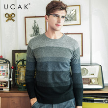 все цены на UCAK Brand 100% Merino Wool Sweater Men Streetwear Fashion Striped Pull Homme Winter Thick Pullover Men Cashmere Sweaters U3081 онлайн