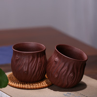 Entirely Handmade Clay Tea Small Cup Master Cup Purple Clay Tea Bowl Large Size Vintage Stump Leather Support Customization