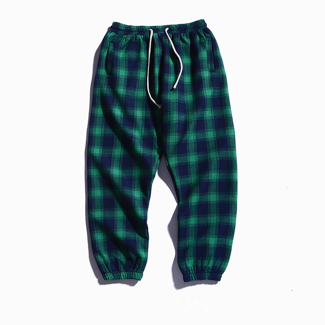 FGKKS Men Plaid Pants Autumn Men's Trousers High Street Style Male Personality Elastic Casual Pencil Pants Uncategorized Fashion & Designs Men's Fashion